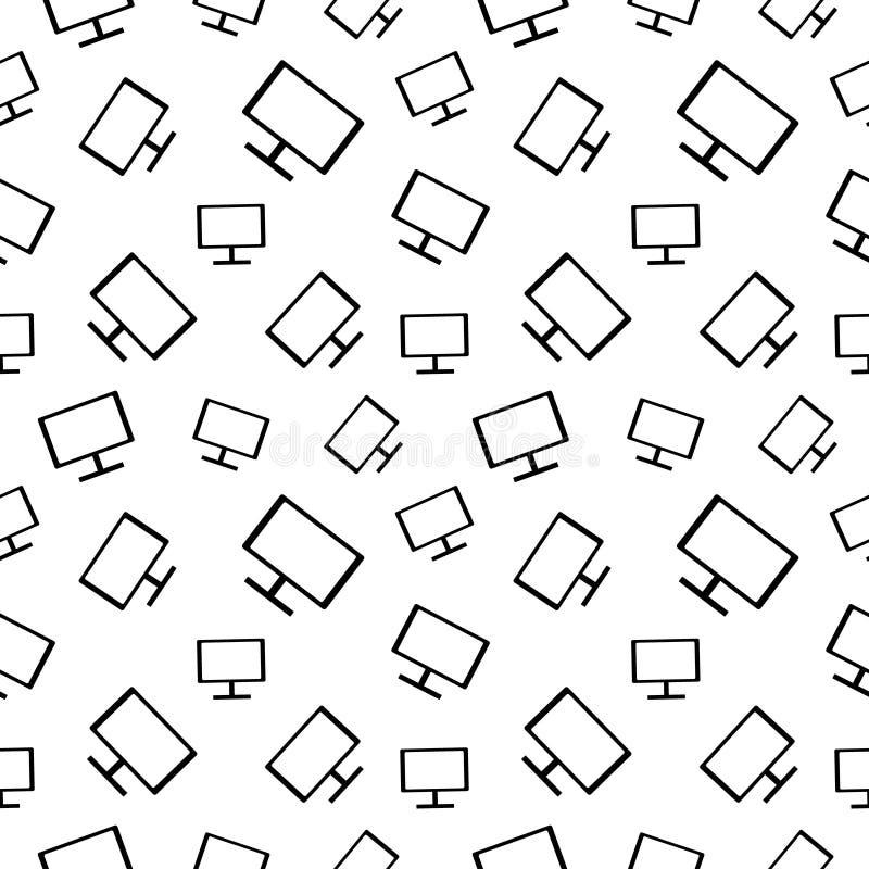 Modelo blanco y negro inconsútil del vector con los monitores stock de ilustración