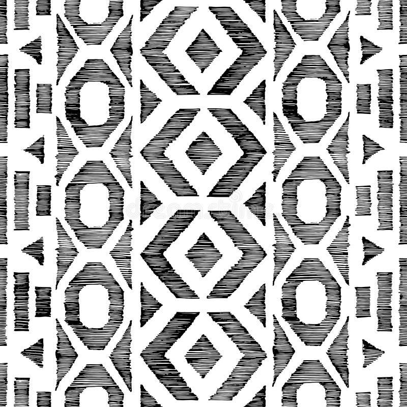 Modelo blanco y negro incons?til en estilo del garabato Adornos ?tnicos y tribales Textura a mano dibujada lápiz del Grunge verti ilustración del vector