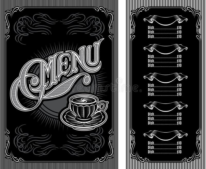 Modelo blanco y negro para el menú del café ilustración del vector