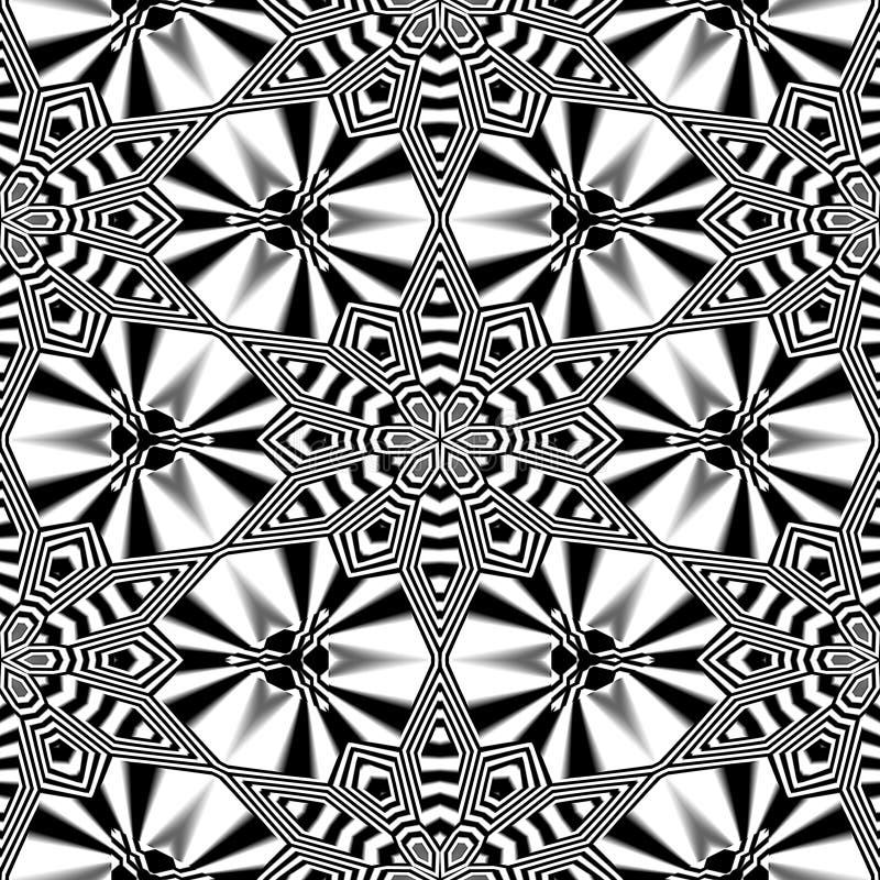 Modelo blanco y negro retro inconsútil abstracto de estrellas y de flores estilizadas ilustración del vector