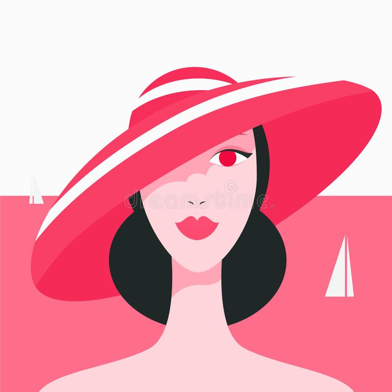 Modelo bonito à moda para o projeto da forma Ilustração do gráfico do art deco Retrato da menina bonita no mar ilustração royalty free