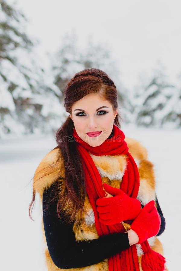 Modelo bonito con el pelo rojo que presenta en bosque del invierno fotos de archivo