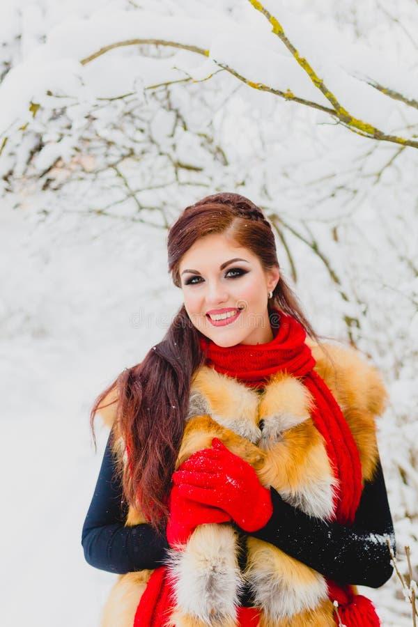 Modelo bonito con el pelo rojo que presenta en bosque del invierno foto de archivo libre de regalías