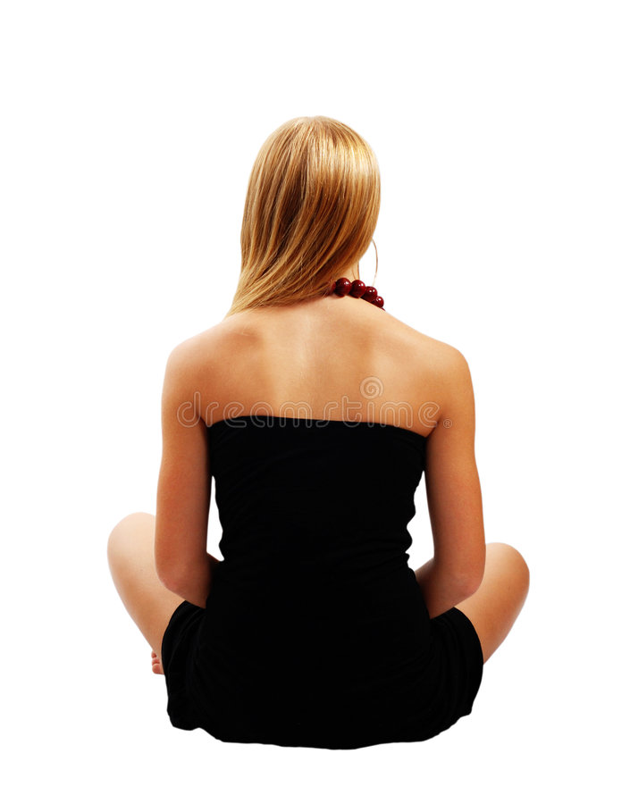 Modelo bonito no vestido preto imagens de stock