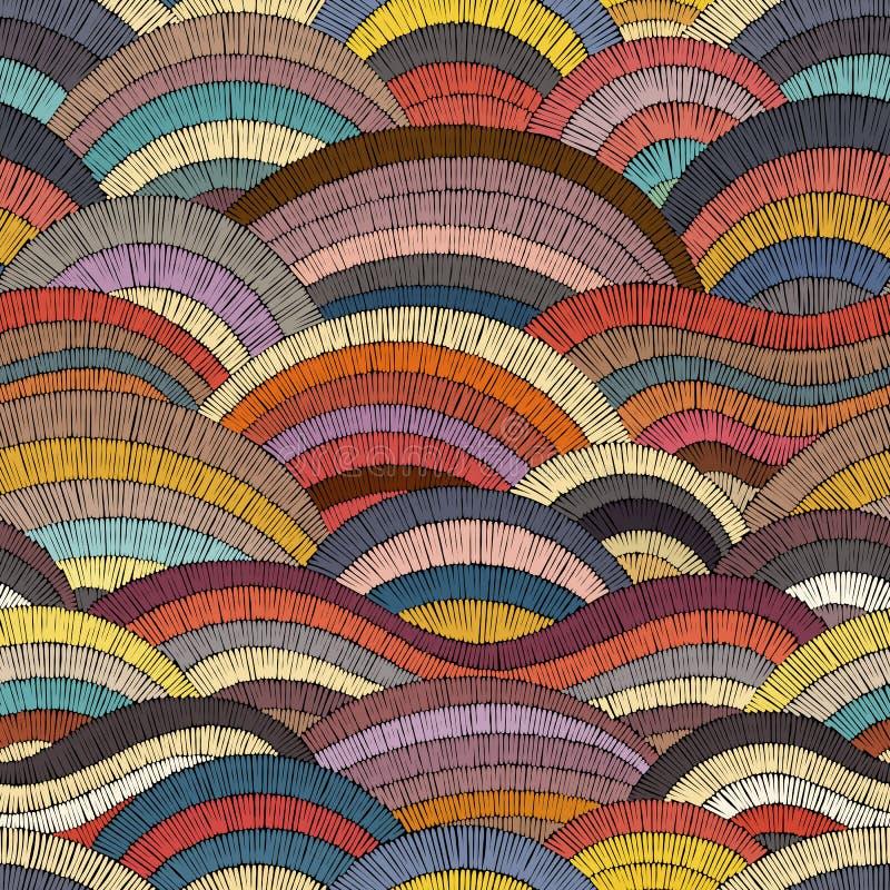 Modelo bordado inconsútil Impresión bohemia ondulada Ornamento del remiendo Ilustración del vector stock de ilustración