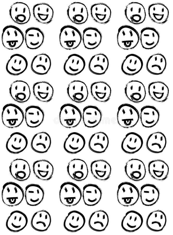 Modelo bosquejado de los smiley ilustración del vector