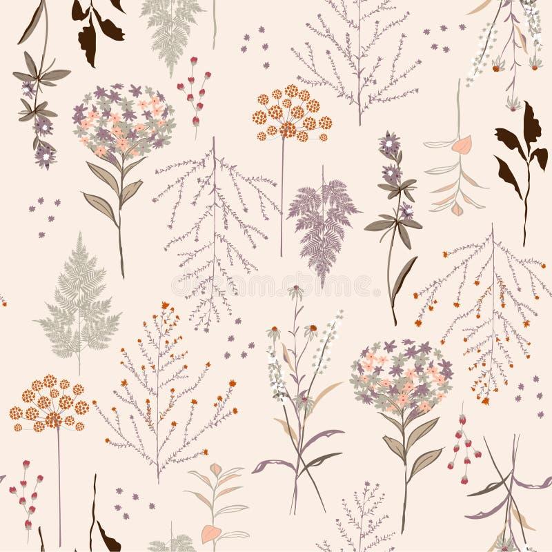 Modelo botánico brillante del vintage hermoso inconsútil, mucho clase de f stock de ilustración