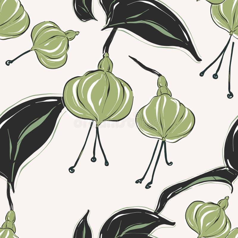 Modelo botánico con fllowers y hojas en colores pastel verdes blandos Colección del bouque del verano Textura floral simple de Di ilustración del vector