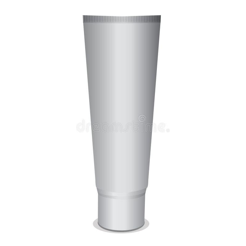 Modelo branco do tubo para o creme, pasta de dente, gel, molho, pintura, colagem Coleção de empacotamento ilustração royalty free