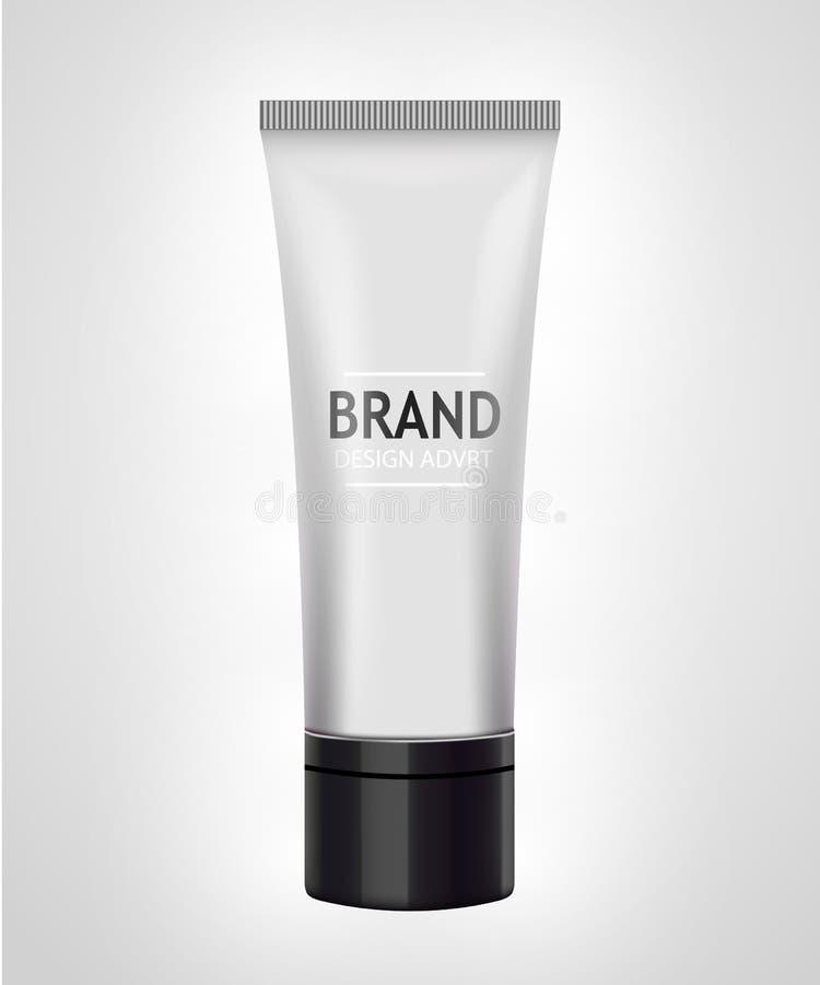 Modelo branco do tubo para o creme, pasta de dente, gel, tonalizador Conceito cosmético ilustração royalty free