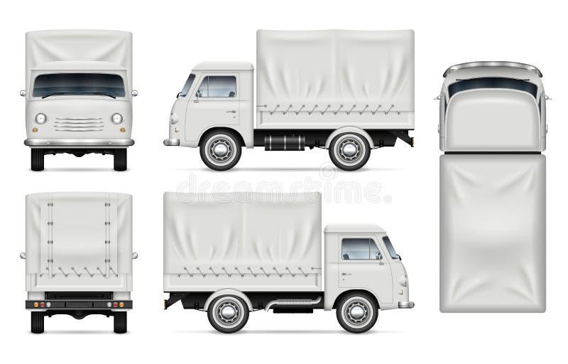 Modelo branco do vetor do caminhão no branco ilustração royalty free