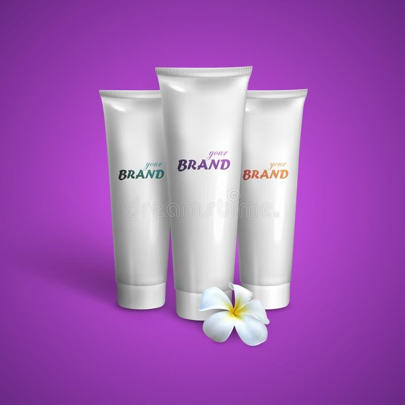 Modelo branco dos tubos para o creme, a pasta de dente ou o gel com flor do frangipani Ilustração de empacotamento do vetor para  ilustração do vetor