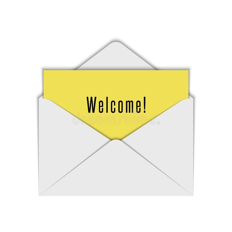 Modelo branco realístico do envelope da placa de aberto com boa vinda do papel e do texto da folha amarela Elemento do projeto de ilustração royalty free