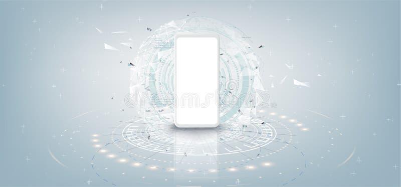 Modelo branco realístico do smartphone com conceito futurista da tecnologia, fundo do sumário do telefone celular, vetor ilustração royalty free