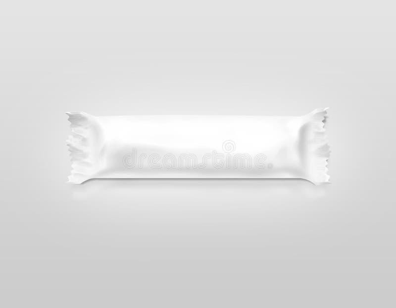 Modelo branco vazio da película de plástico da barra de chocolate fotografia de stock