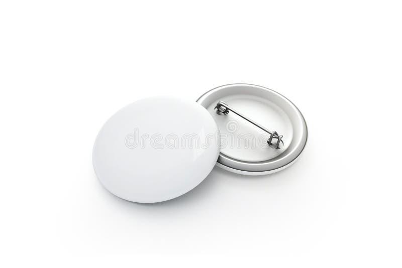 Modelo branco vazio da pilha do crachá do botão, isolado, trajeto de grampeamento, foto de stock royalty free
