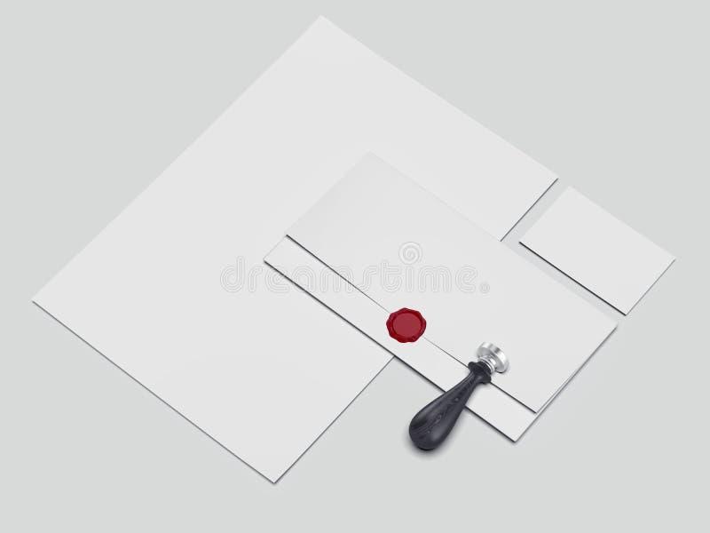 Modelo brilhante do negócio com cera e selo do selo rendição 3d ilustração royalty free