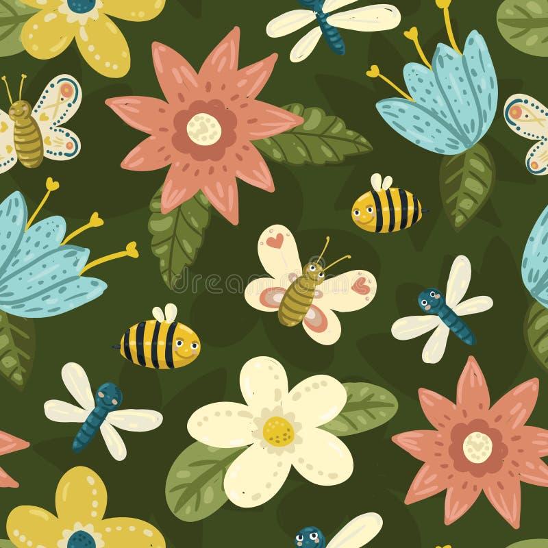 Modelo brillante con las flores, mariposa, abeja, libélula del mano-drenaje lindo inconsútil stock de ilustración