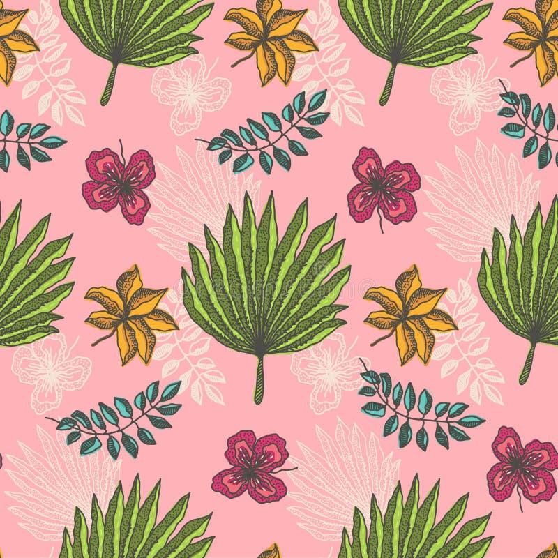 Modelo brillante con las hojas tropicales en rosa claro libre illustration