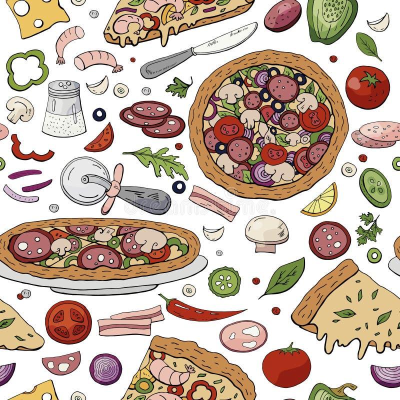Modelo brillante exhausto de la mano inconsútil con diversa pizza italiana stock de ilustración