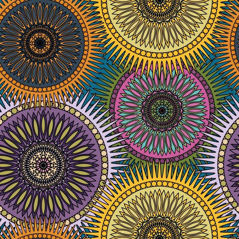 Modelo brillante inconsútil con las mandalas orientales Islam, árabe, adornos asiáticos Impresión del caleidoscopio Humor del cor stock de ilustración