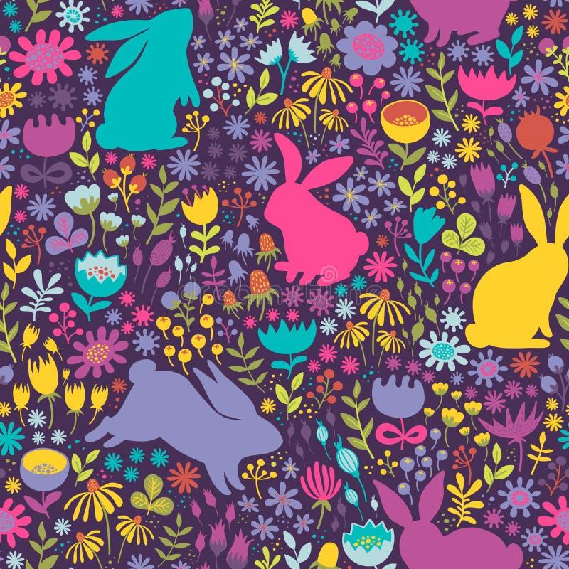 Modelo brillante inconsútil de siluetas de conejos y del wildflow ilustración del vector