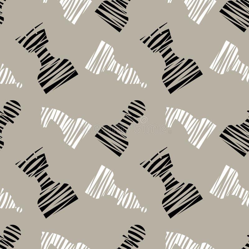 Modelo caótico del vector inconsútil con los pedazos de ajedrez alineados decorativos negros Fondo gris con las piezas de ajedrez ilustración del vector