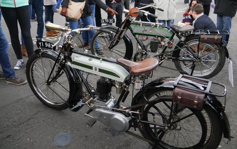 Modelo 550cc H Motorcycle de Triumph 1918 do vintage fotos de stock
