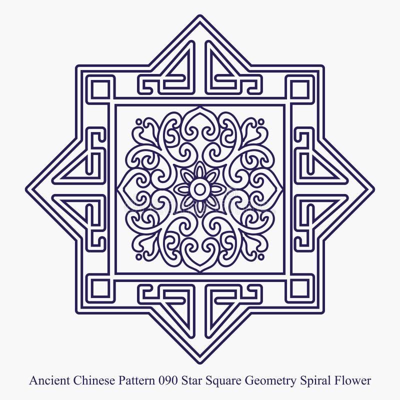 Modelo chino antiguo de la flor del espiral de la geometría del cuadrado de la estrella ilustración del vector
