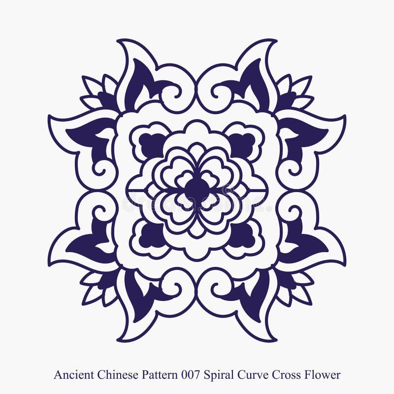 Modelo chino antiguo de la flor espiral de la cruz de la curva stock de ilustración