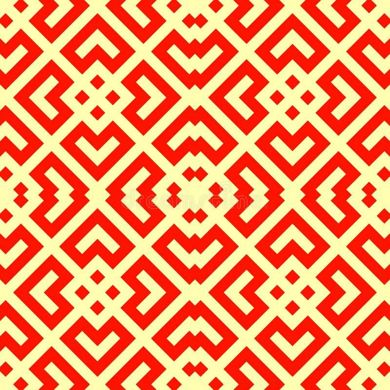 Modelo chino inconsútil del tracery de la ventana Rhombus rojos estilizados repetidos en fondo amarillo Adorno geométrico simétri ilustración del vector