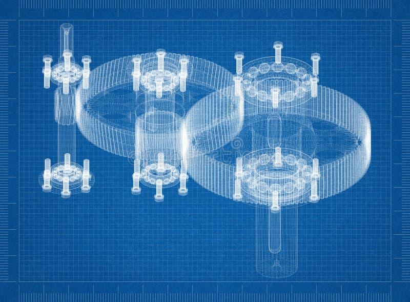 Modelo cilíndrico do arquiteto do redutor ilustração stock