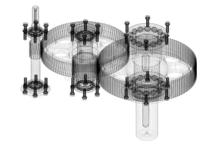 Modelo cilíndrico do arquiteto do redutor - isolado ilustração stock