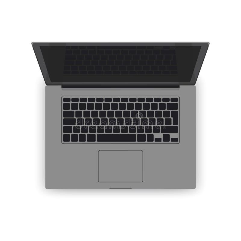 Modelo cinzento realístico do portátil do vetor a ilustração do computador 3d detalhou o teclado, tela, opinião superior de almof ilustração stock