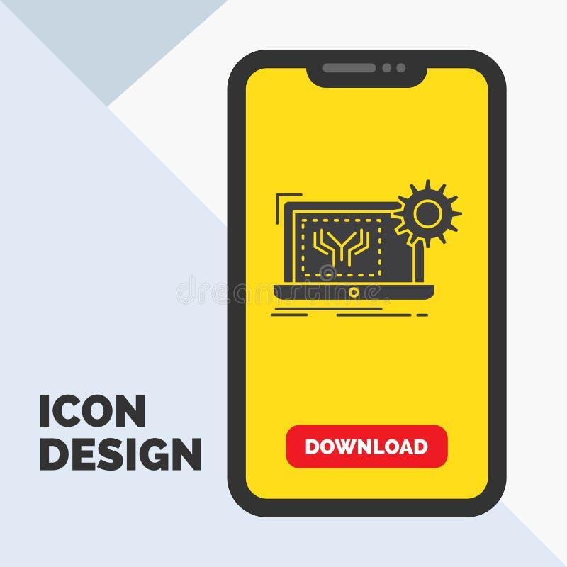 Modelo, circuito, electrónica, ingeniería, icono del Glyph del hardware en el móvil para la página de la transferencia directa Fo stock de ilustración