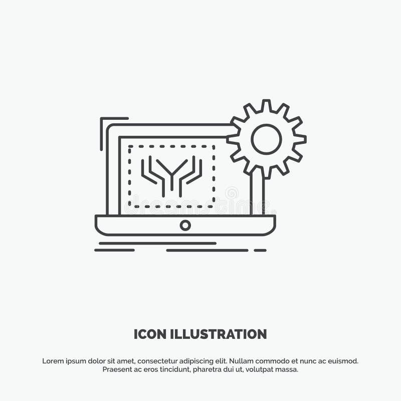 Modelo, circuito, electrónica, ingeniería, icono del hardware L?nea s?mbolo gris del vector para UI y UX, p?gina web o aplicaci?n libre illustration