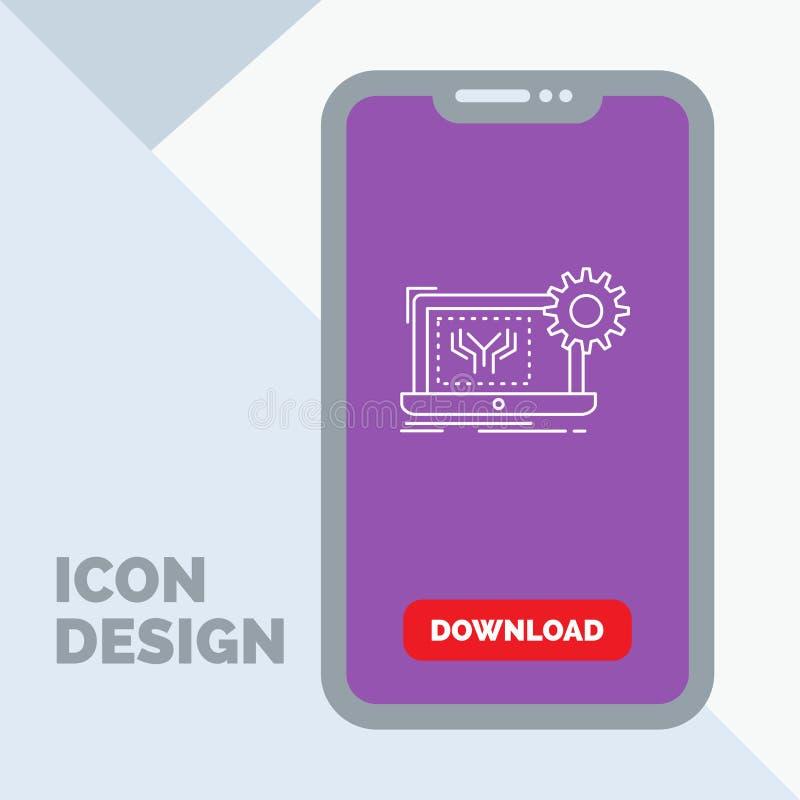 Modelo, circuito, electrónica, ingeniería, línea icono del hardware en el móvil para la página de la transferencia directa ilustración del vector