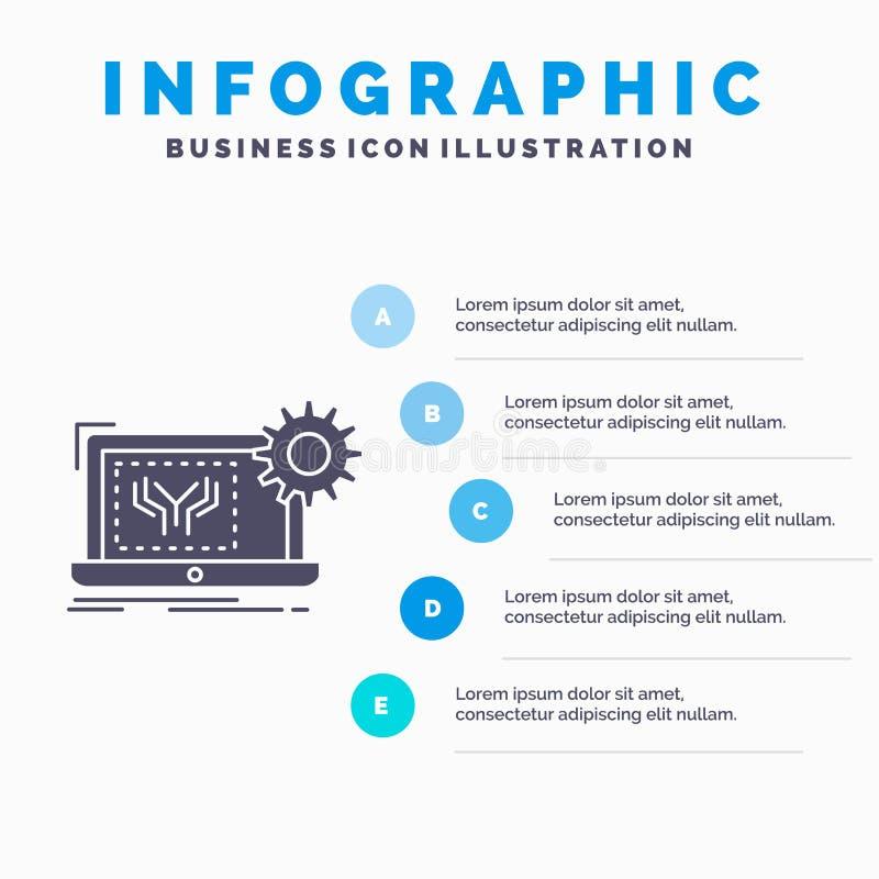 Modelo, circuito, electrónica, ingeniería, plantilla de Infographics del hardware para la página web y presentación Icono gris de libre illustration