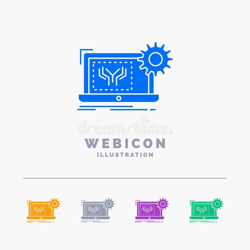 Modelo, circuito, electrónica, ingeniería, plantilla del icono de la web del Glyph del color del hardware 5 aislada en blanco Ilu ilustración del vector