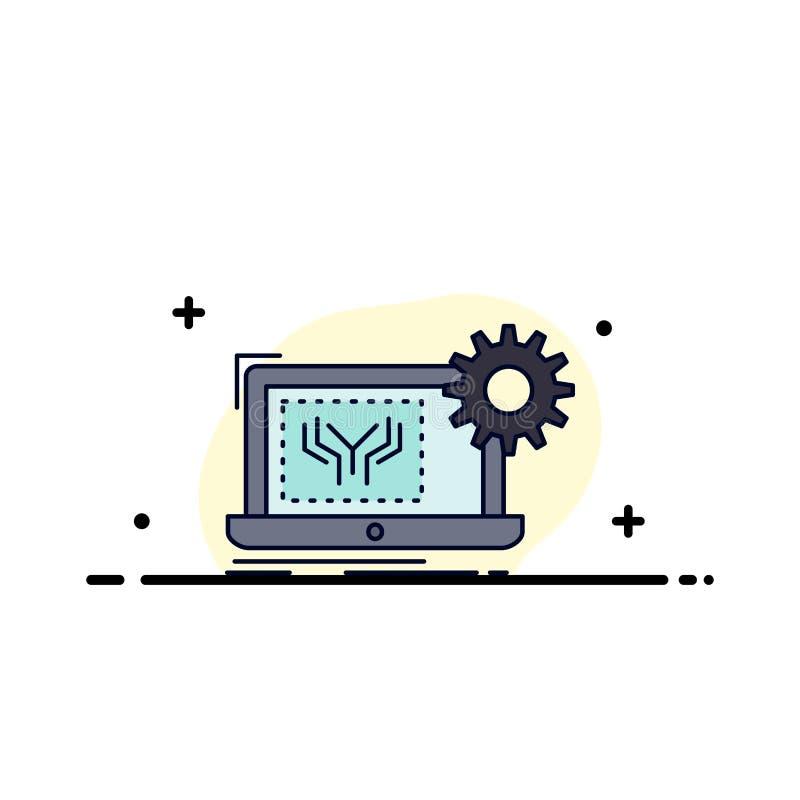Modelo, circuito, electrónica, ingeniería, vector plano del icono del color del hardware ilustración del vector
