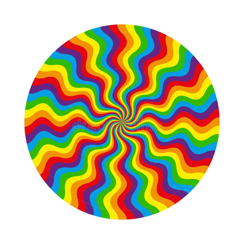 Modelo circular abstracto de la línea ondulada multicolora ilustración del vector