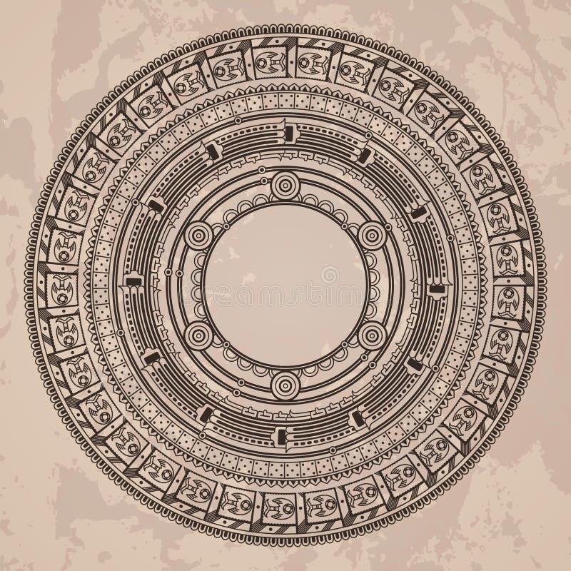 Modelo circular del vector en el estilo del Azteca libre illustration