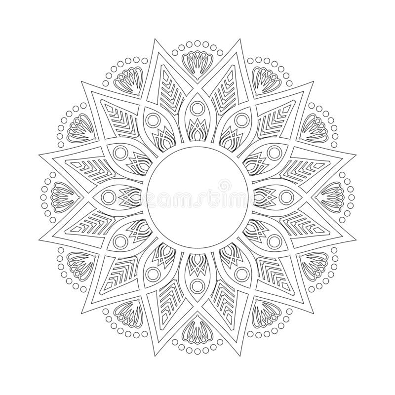 Modelo circular en la forma de mandala Hindú, Buda, alheña, Mehndi, tatuaje, decoración, Islam, árabe, indio, turco, Paquistán, c stock de ilustración
