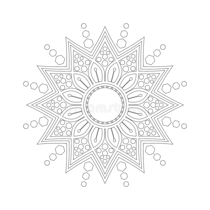 Modelo circular en la forma de mandala Hindú, Buda, alheña, Mehndi, tatuaje, decoración, Islam, árabe, indio, turco, Paquistán, c ilustración del vector