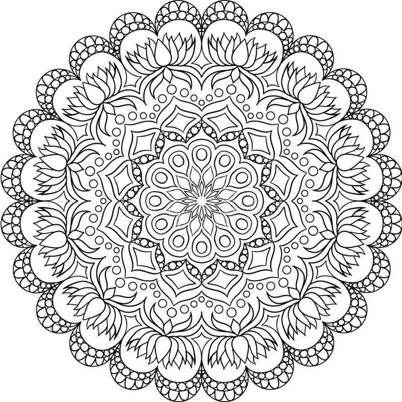 Modelo circular en la forma de mandala para la alheña, Mehndi, tatuaje, decoración libre illustration