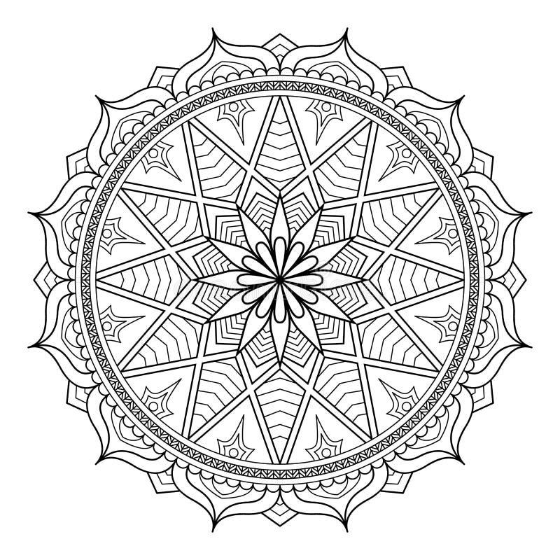 Modelo circular en la forma de mandala para la alheña, Mehndi, tatuaje, decoración Ornamento decorativo en estilo oriental étnico stock de ilustración
