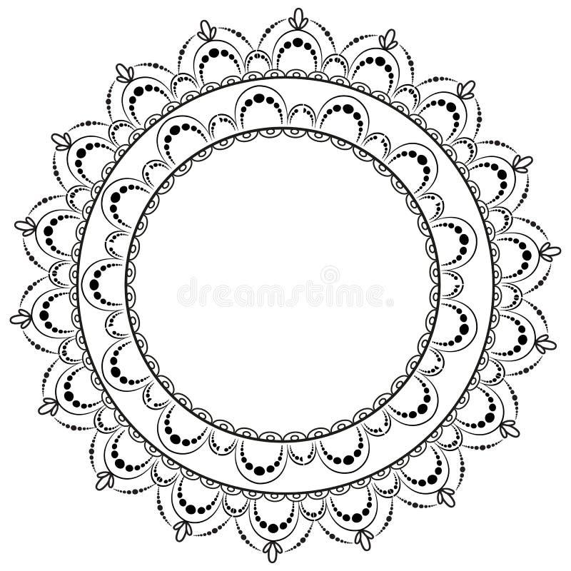 Modelo circular en la forma de mandala para la alhe?a Mehndi stock de ilustración