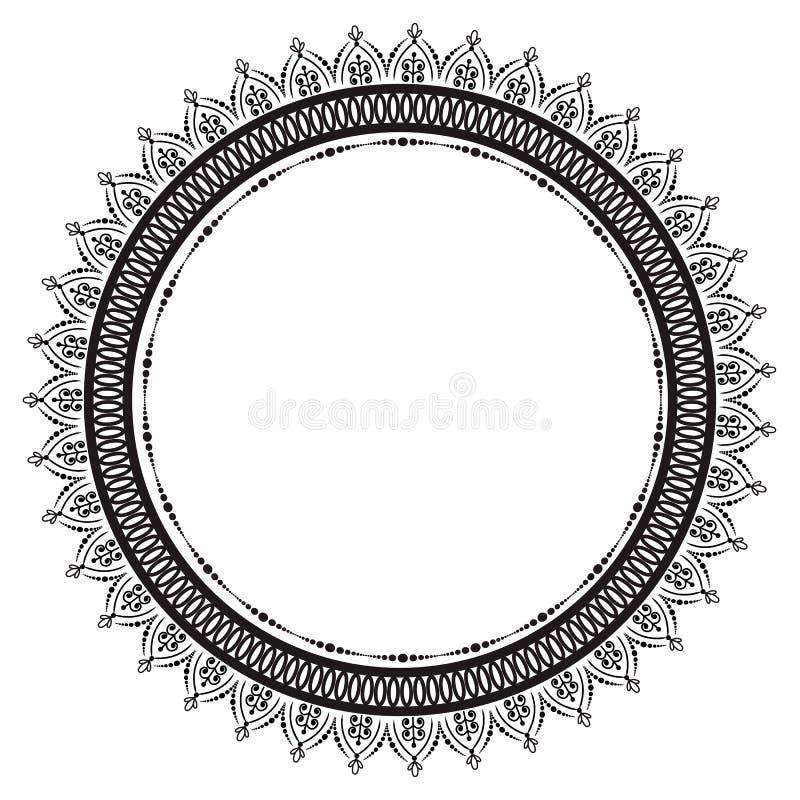 Modelo circular en la forma de mandala para la alhe?a Mehndi ilustración del vector
