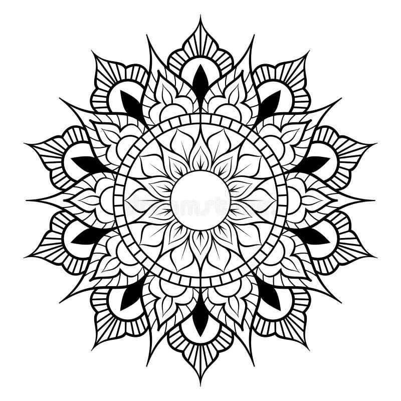 Modelo circular en la forma de mandala para la alhe?a, Mehndi, tatuaje, decoraci?n Ornamento decorativo en estilo oriental ?tnico ilustración del vector