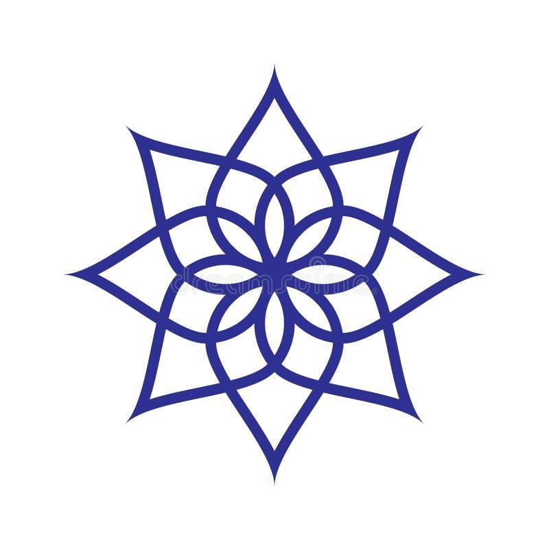 Modelo circular Icono geométrico Estrella señalada siete en el fondo blanco Estilo moderno Ilustración del vector Símbolo simple  stock de ilustración
